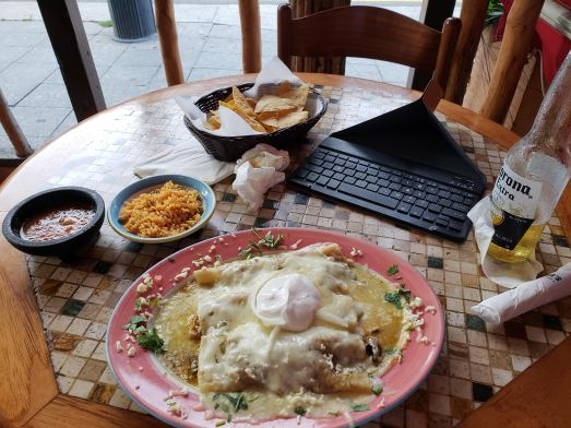 Enchiladas suizas and where this blog was penned.