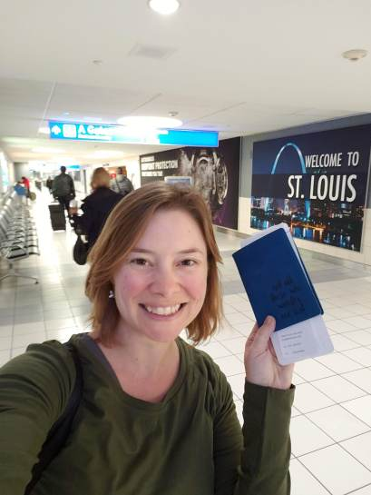 "Heading out from St. Louis! My passport cover says: ""Not all those who wander are lost."" And yet, finding yourself, is a direct result of travel."